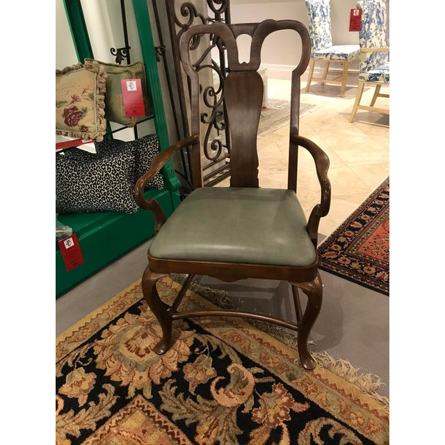 2010s Baker Green Leather Seat Arm Chair For Sale - Image 5 of 5