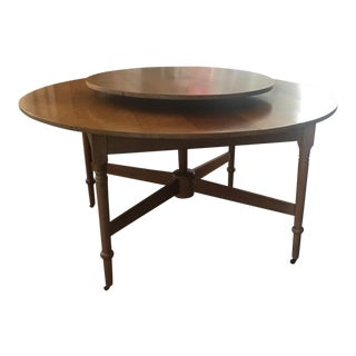 Antique Round Dining Table With Lazy Susan