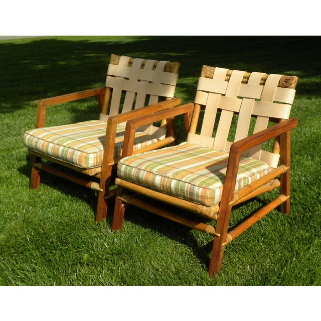 Ficks Reed Vintage Day Bed & Leather Back Chairs For Sale - Image 10 of 11
