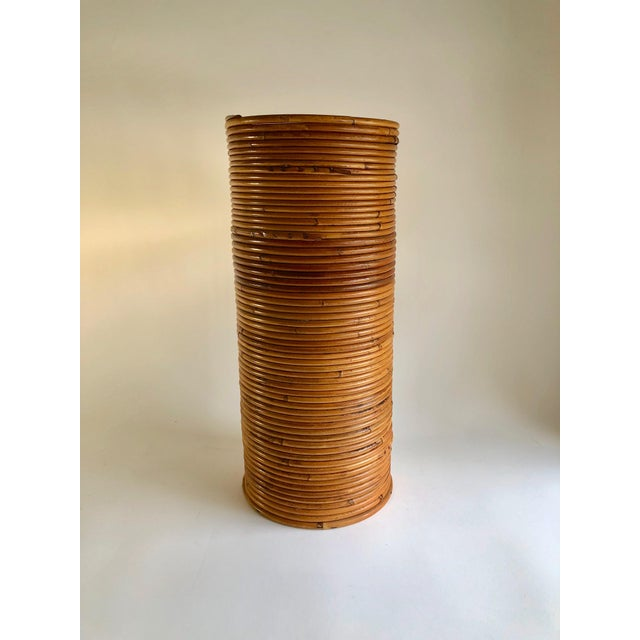 Wood Gabriella Crespi Style Rattan Umbrella Stand For Sale - Image 7 of 7