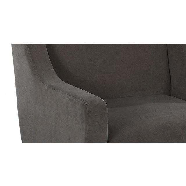 Danish Modern Swivel Lounge Chairs - Walnut and Charcoal Cotton Velvet - A Pair For Sale - Image 3 of 4