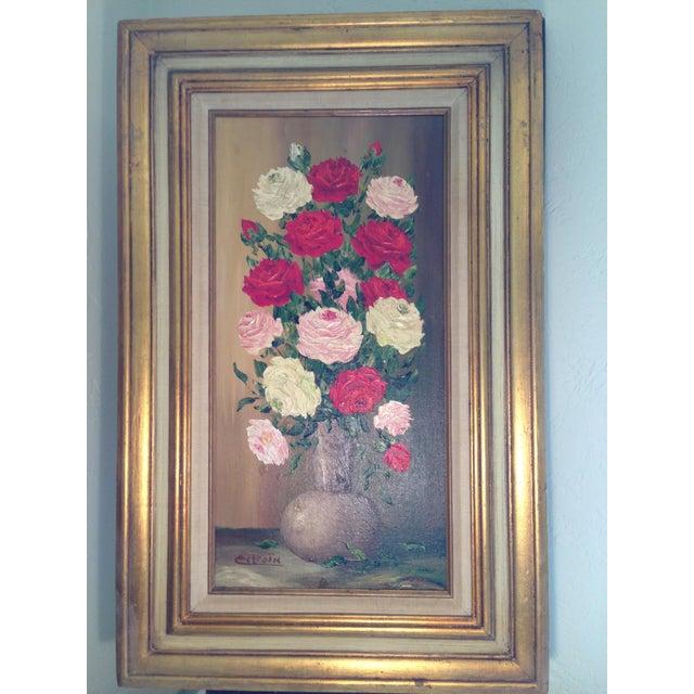 Mid-Century Roses in Brass Vase Still Life Painting - Image 11 of 11