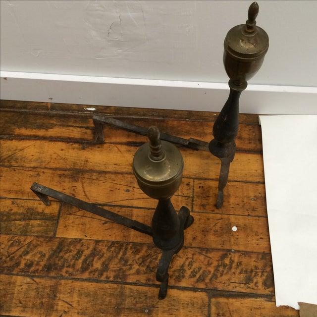 Petite Iron & Brass Andirons - A Pair - Image 3 of 5