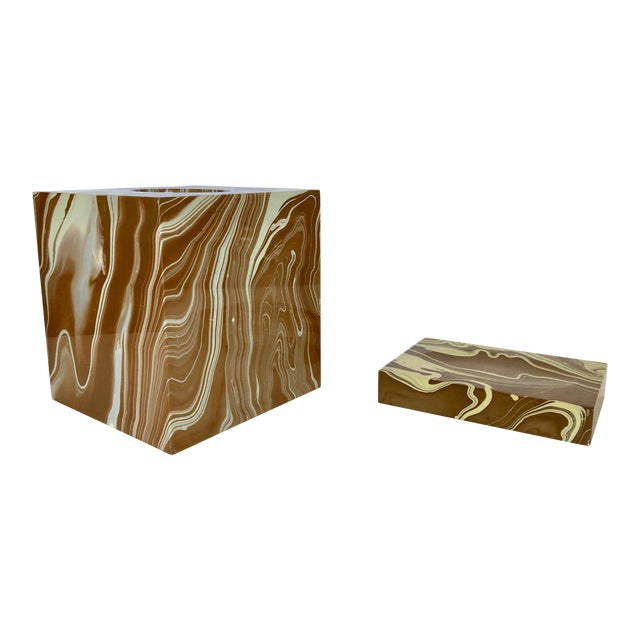 Oggetti Tissue Box and Soap Dish For Sale