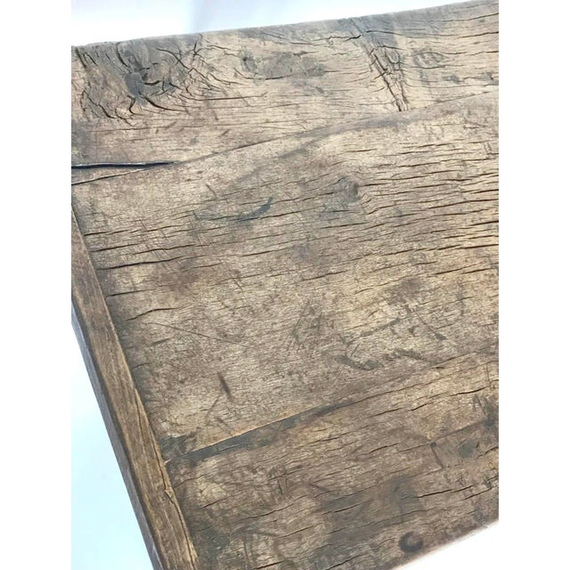 Rustic Elm Wood Console / Altar Table With Curved Stretchers For Sale - Image 4 of 7