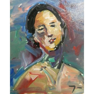Jose Trujillo Oil Painting Expressionism Fauvist Portrait Woman Signed For Sale
