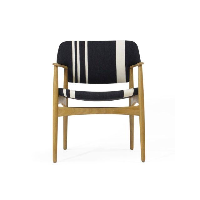 White Pair of Aksel Bender Madsen for Fritz Hansen Oak Armchairs For Sale - Image 8 of 11