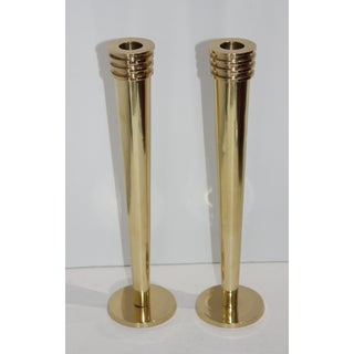 Postmodern Art Deco Revival Brass Candle Sticks Holders - a Pair Preview