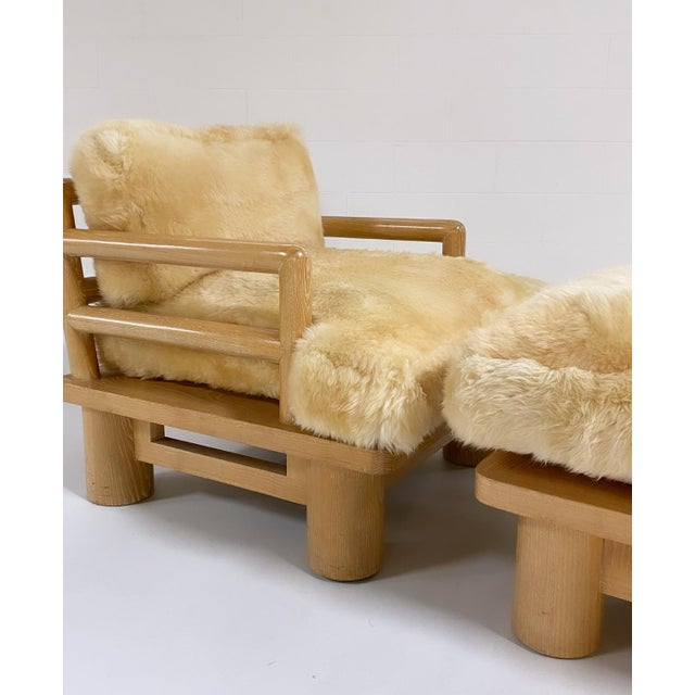 """This is a fabulous example of Karl Springer's acclaimed and rare cerused oak """"Dowelwood"""" line. An extra large lounge seat..."""