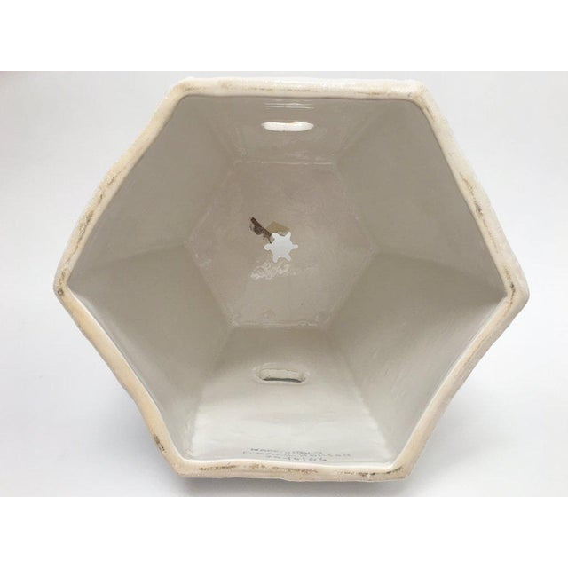 Asian Paul Hanson Italian White Porcelain Garden Stool With Bamboo Motif For Sale - Image 3 of 13