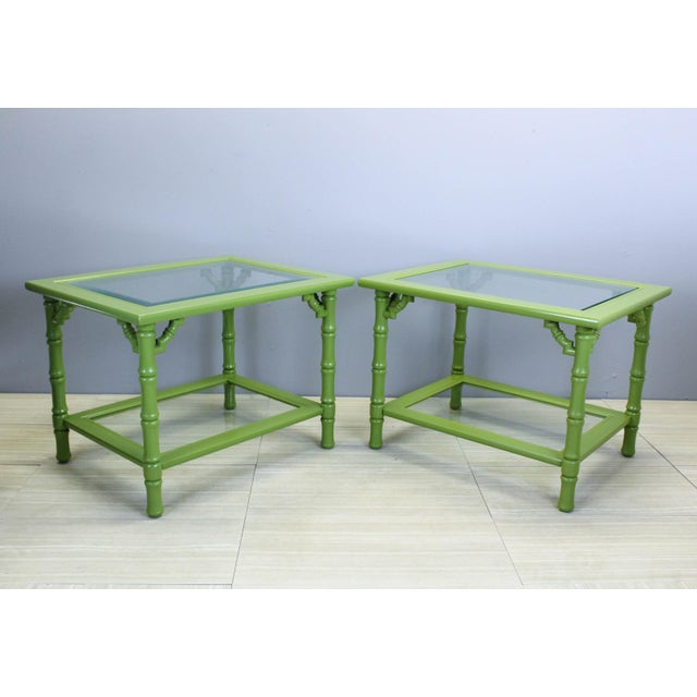 Green Green Lacquered Side Tables - A Pair For Sale - Image 8 of 9