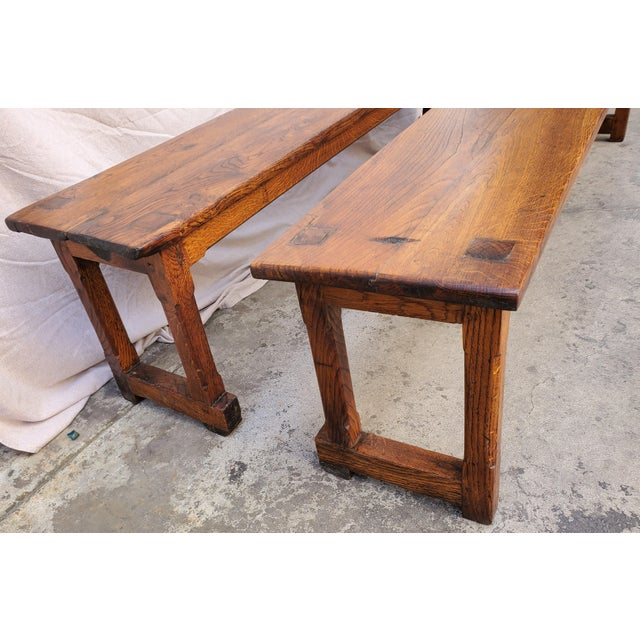 Antique Plank Solid Oak Refectory Dining Table With a Pair of Monastery Benches - 3 Pieces For Sale - Image 10 of 13