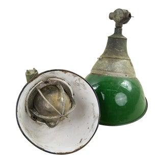 Antique 1940's Appleton Electric Co. Green Enamel Sconces - A Pair For Sale