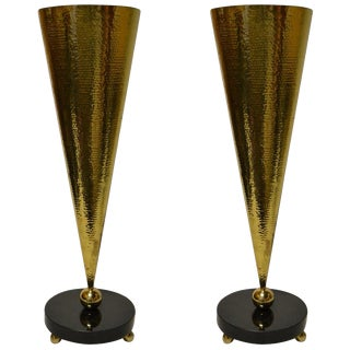 Pair of Hammered Brass and Marble Table Torchieres For Sale