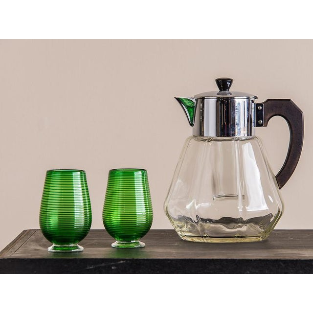 1930s Art Deco Period Vintage Austrian Glass, Bakelite, Chromed Metal Pitcher, circa 1930 For Sale - Image 5 of 5