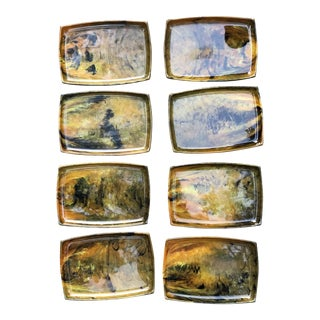 Faux Tortoise Shell Hors D' Oeuvre Tray & Plates - Set of 8 For Sale