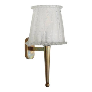 1960s Italian Brass Lamp Sconces with Frosted Murano Glass Shade For Sale