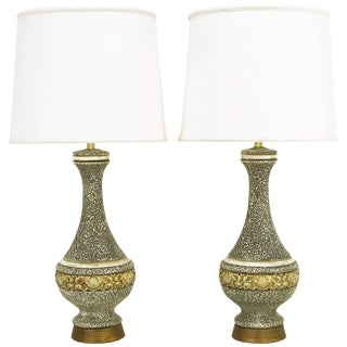 Pair of Charcoal-Glazed Chalkware Rococo Table Lamps For Sale