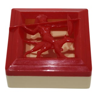 Art Deco 1930s Roman Warrior Red Trinket Box by Hickok For Sale