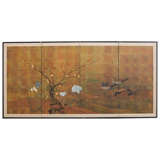 Japanese Four-Panel Screen of Ducks and Flowers For Sale