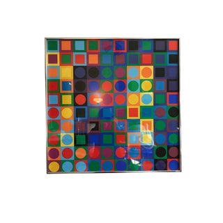 Original 1970s Victor Vasarely Abstract Op Art Geometric Silk Screen Lithograph Exhibition Poster Framed For Sale