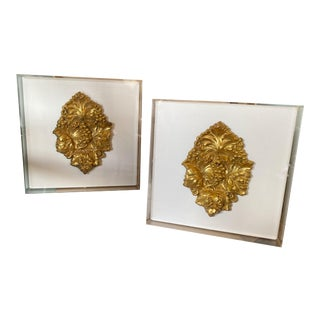 Framed Stamped Brass Fragments - a Pair For Sale