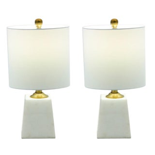 Modern Marble Square Base Lamp - a Pair For Sale