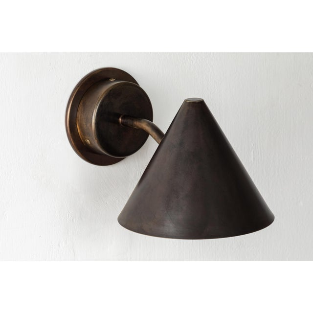 Mid-Century Modern Hans-Agne Jakobsson 'Mini-Tratten' Patinated Brass Outdoor Sconces - a Pair For Sale - Image 3 of 9