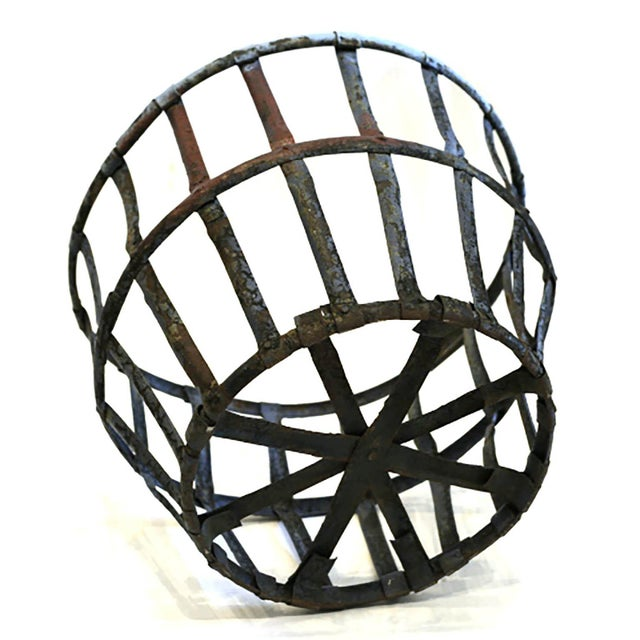 Industrial Late 19th/Early 20th C. Distressed Industrial Iron Basket C. 1880-1920s For Sale - Image 3 of 6