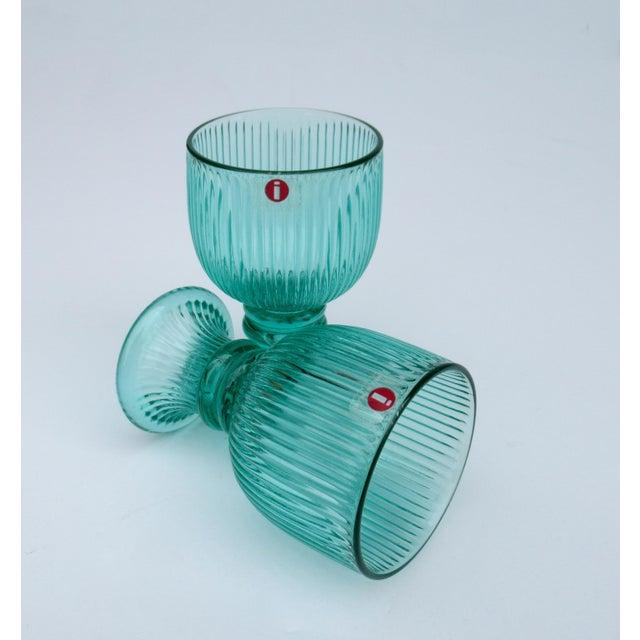 Vintage l'Ittala Crystal Round Fluted Mint Cordial Glasses - Set of 2 For Sale - Image 9 of 13
