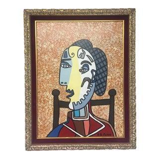 Contemporary Folk Artist B.D.Floyd Cubist Style For Sale