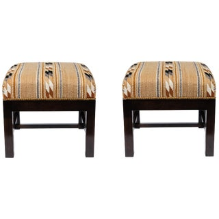 Square Ottomans With Walnut Finish Upholstered in a Vintage Native American Rug For Sale