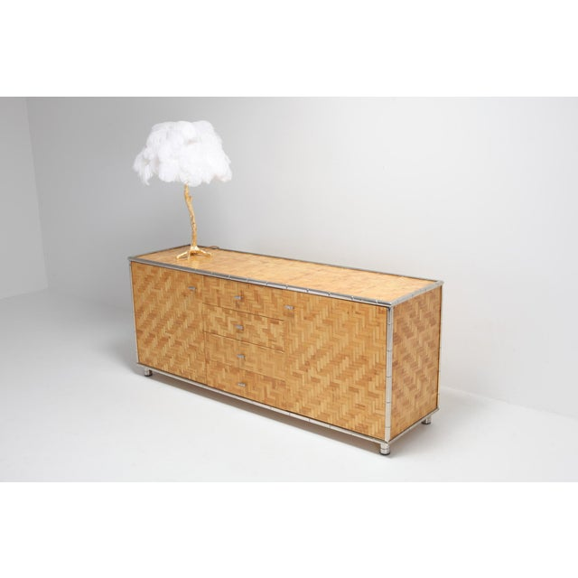 Bamboo Credenza With Faux Bamboo Chrome Frame Gabriella Crespi Style - 1970s For Sale - Image 9 of 10