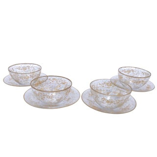 19th Century Lobmeyr Hand-Painted Enameled Fruit Bowls and Under Plates - Set of 4 For Sale