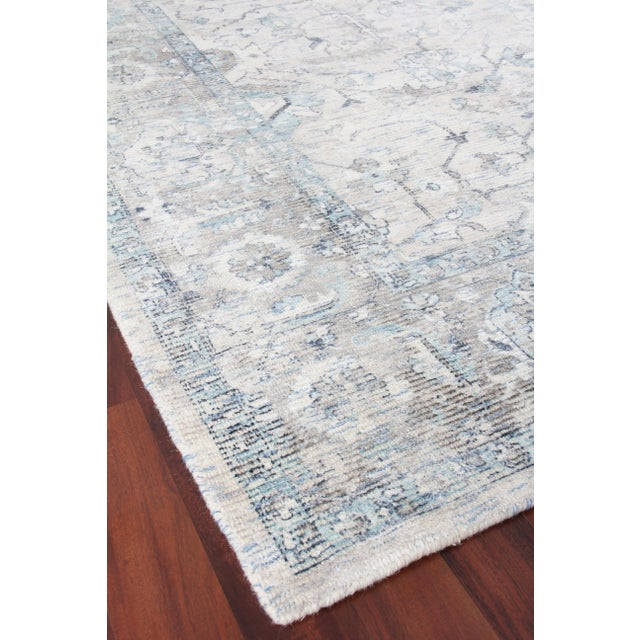 Textile Exquisite Rugs Biron Handmade Wool & Viscose Beige & Blue - 8'x10' For Sale - Image 7 of 9
