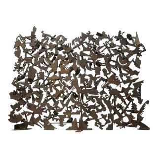 Brutalist Mid Century Modern Iron Petroglyph Sculpture Fireplace Fire Screen For Sale