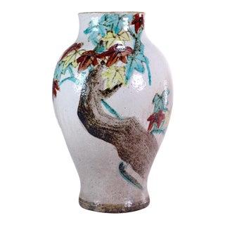 19th Century Japanese Kenzan Type Enameled Pottery Vase For Sale
