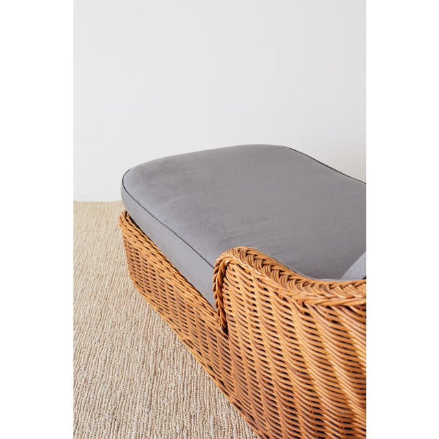 Michael Taylor Style Wicker Chaise Lounge For Sale - Image 10 of 13