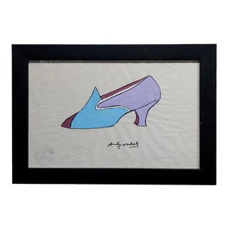 Andy Warhol - Watercolor Shoe Illustration on Paper -Signed For Sale