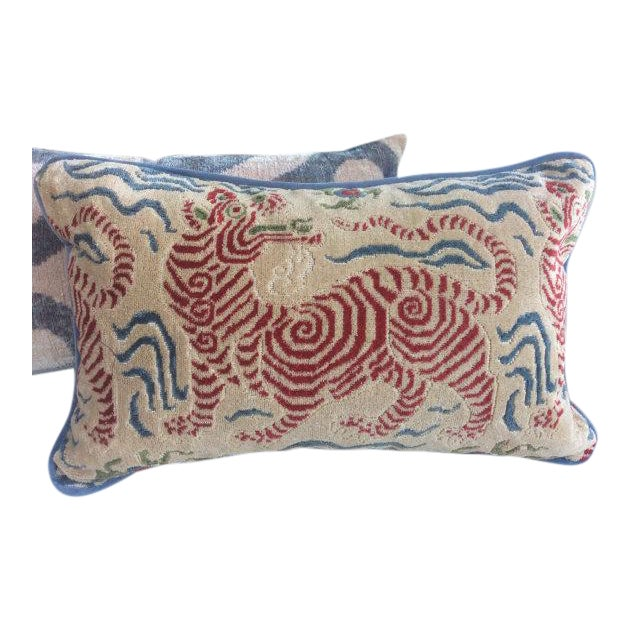 Clarence House Pillows in Tibet Dragon - a Pair - Image 1 of 3