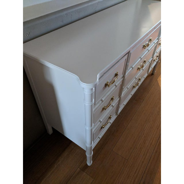 Asian 1970s Chinoiserie Henry Link Faux Bamboo High Gloss White Nine Drawer Dresser For Sale - Image 3 of 8