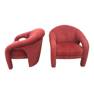 Mid-Century Vladimir Kagan Style Red Sculptural Chairs - a Pair For Sale