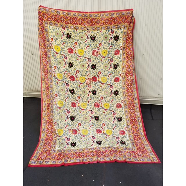Textile 20th Century Turkish Hand Block Printer Suzani Bedspread or Tapestry For Sale - Image 7 of 7