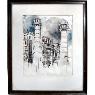 M. Bain 1956 Industrial Watercolor Painting