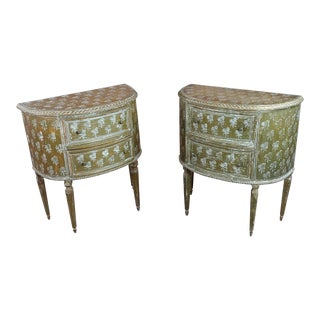 1900s Italian Florentine Demilune Gilt-Wood Commodes - a Pair For Sale