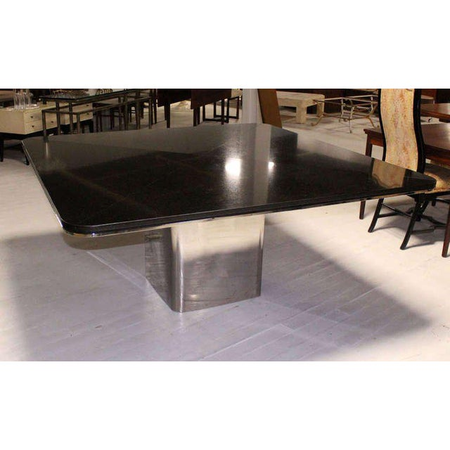 Chrome 1970s Mid-Century Modern Brueton Square Granite Top and Stainless Base Dining Table For Sale - Image 7 of 10