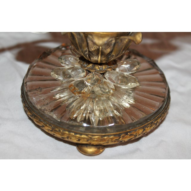 Art Deco 1930s Maison Bagues French Art Deco Cut Crystal Flowers Table Lamps - a Pair For Sale - Image 3 of 13
