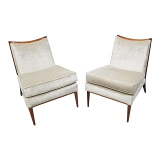 Mid Century Modern Paul McCobb for Directional Slipper Chairs Newly Upholstered - Pair For Sale