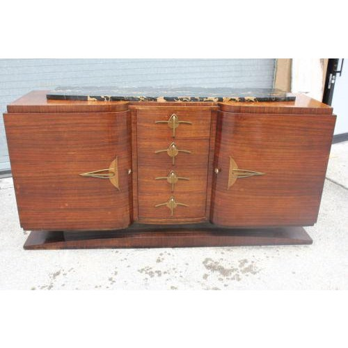 Classic French Art Deco Palisander Sideboard / Buffet Marble Top Circa 1940s - Image 2 of 10
