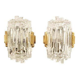 French 1970s Ice Crystal Wall Lights - a Pair For Sale